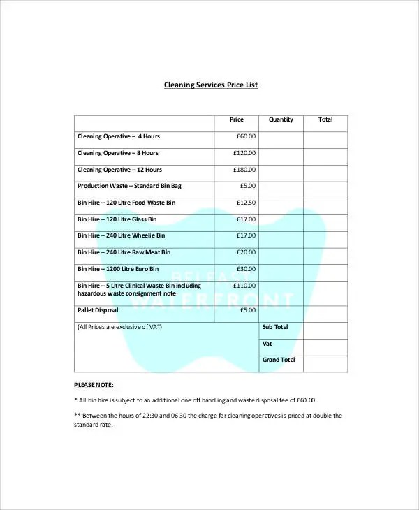 Service List Templates - 6+ Free Samples, Examples Format Download