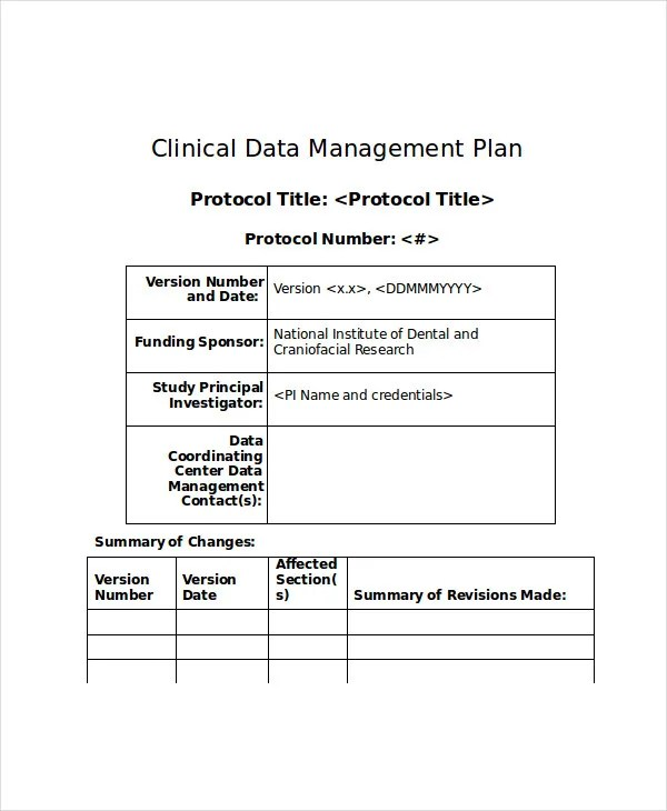 7+ Data Management Plan Templates -Free Sample, Example Format - management plan template