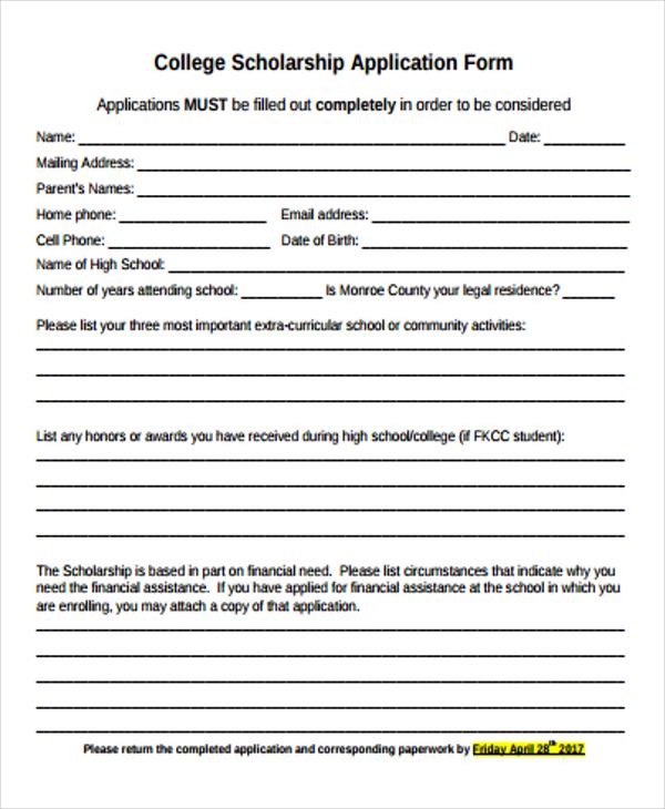 scholarship applications form - Mersnproforum - scholarship form