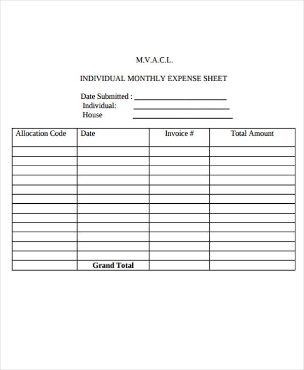 free expense sheet template