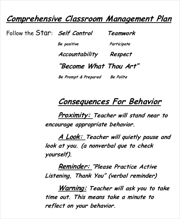 11+ Classroom Management Plan Templates - Free PDF, Word Format