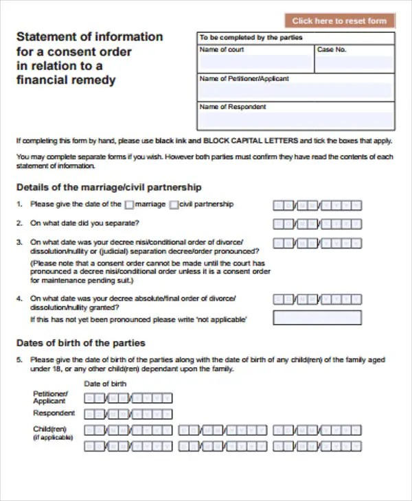 8+ Consent Order Templates - Free Sample, Example Format Download - divorce templates