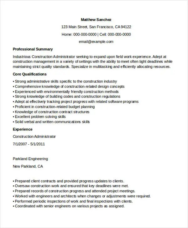 26 professional administrative resume templates free premium construction administrator sample resume - Construction Administrator Sample Resume