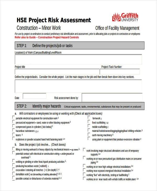 24+ Risk Assessment Form Templates Free  Premium Templates