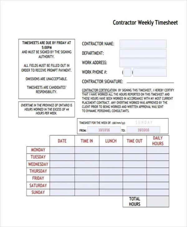 weekly timesheet templates