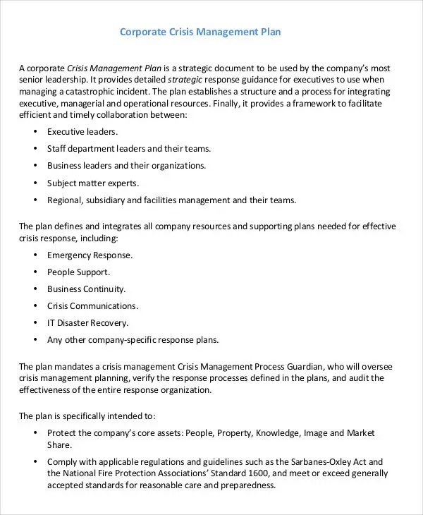 10 Crisis Management Plan Templates - Free Sample, Example Format - crisis communications plan examples
