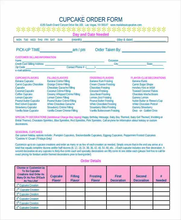 9+ Cake Order Forms - Free Samples, Examples, Format Download Free - cake order forms