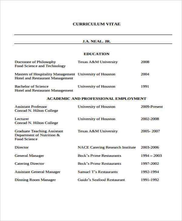 8+ Hospitality Curriculum Vitae Templates - PDF, DOC Free - example hospitality resume