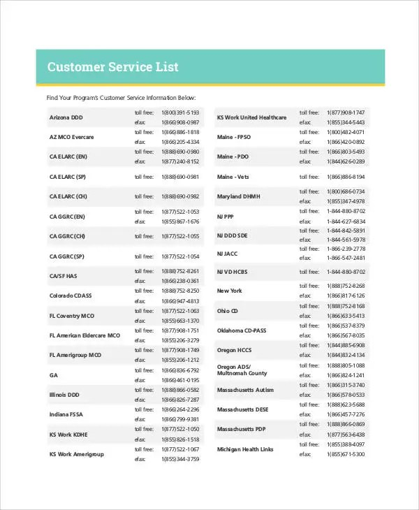 Service List Templates - 6+ Free Samples, Examples Format Download - service list sample