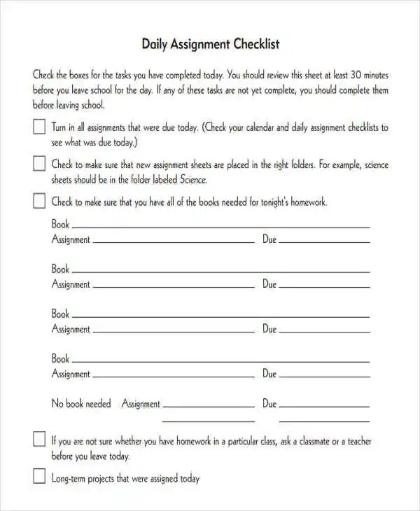 Assignment Checklist Templates - 8 Free Word, PDF Format Download