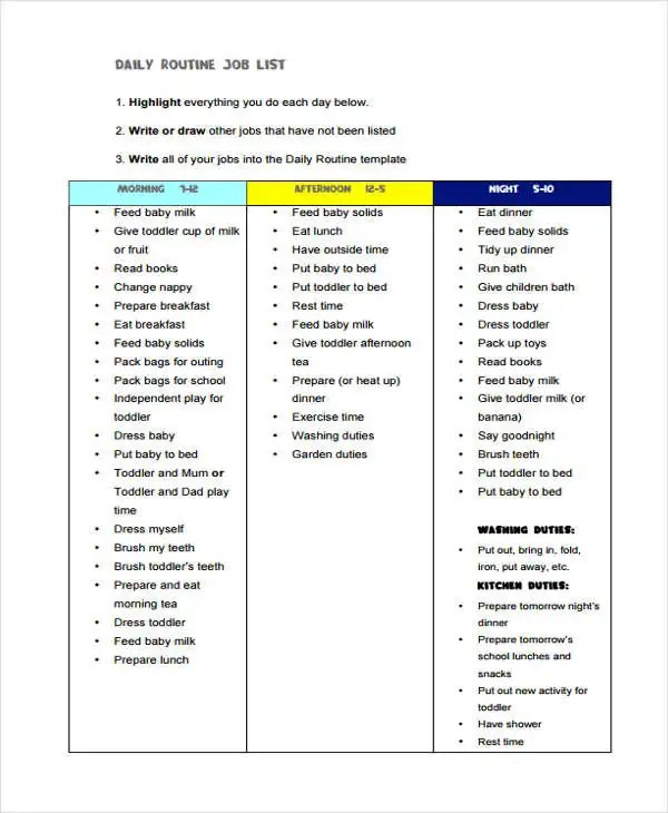 Job List Templates - 6+ Free Word, PDF Format Download Free