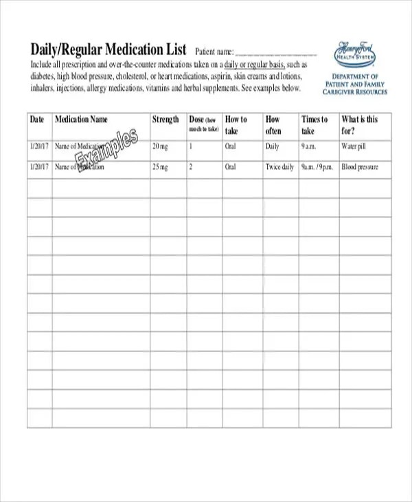 9+ Medication List Templates - Free Samples, Examples Format