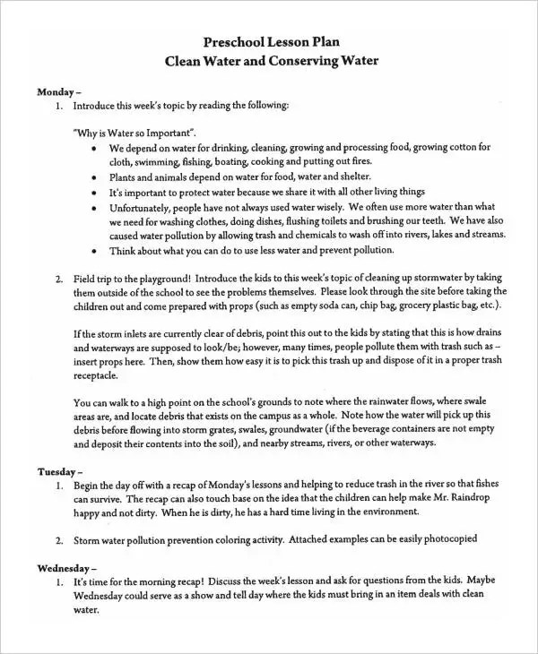 9+ Printable Preschool Lesson Plan Templates -Free Sample, Example - easy lesson plan template