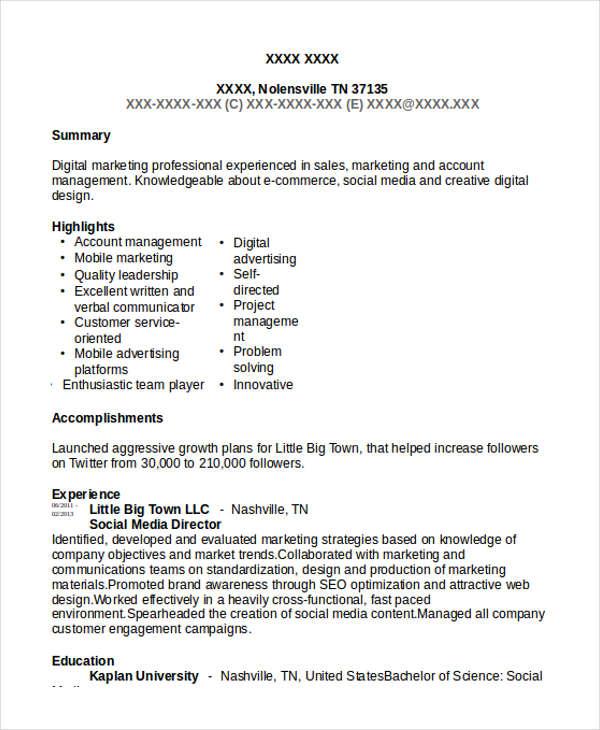 Sample Social Media Resume nfcnbarroom - media resume