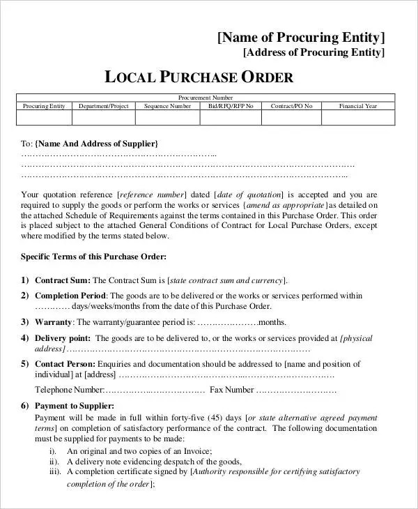 15+ Purchase Order Templates Free  Premium Templates