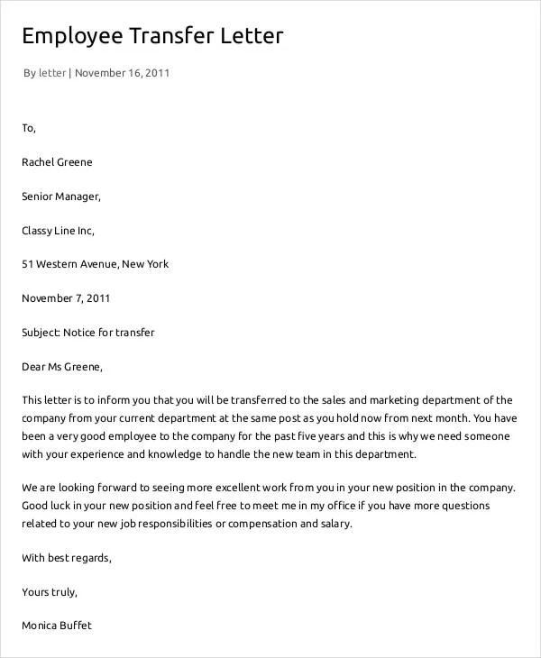 transfer letter for employee - Boatjeremyeaton - employee proposal letter