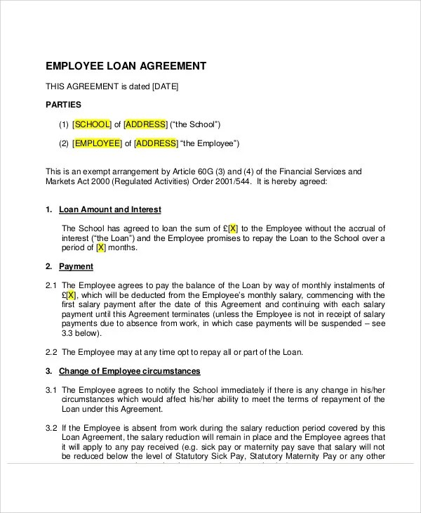 employee loan agreement - Ozilalmanoof - Loan Agreement Example
