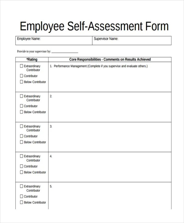 assessment form sample - Selol-ink