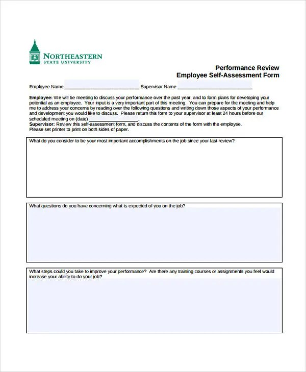 Employee Self Evaluation Forms Free sample employee evaluation – Sample Performance Evaluation Forms