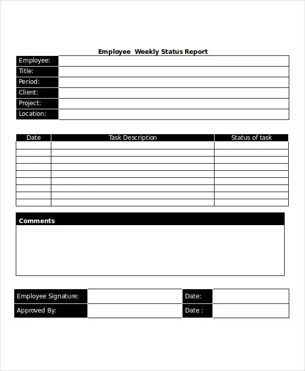 28+ Free Weekly Report Templates Free  Premium Templates - employee weekly report