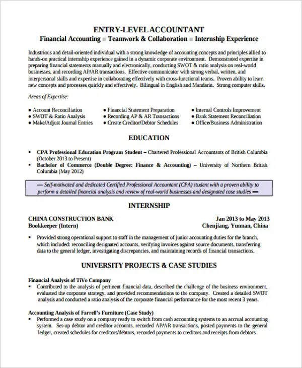 17+ Finance Resume Templates - PDF, DOC Free  Premium Templates