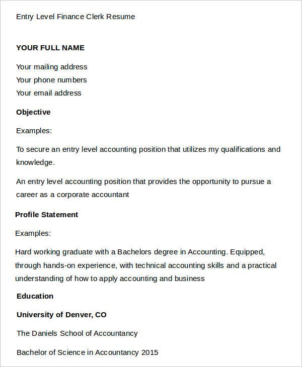 resume accounting skills