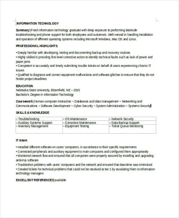 35+ Simple IT Resume Templates - PDF, DOC Free  Premium Templates - simple it resume