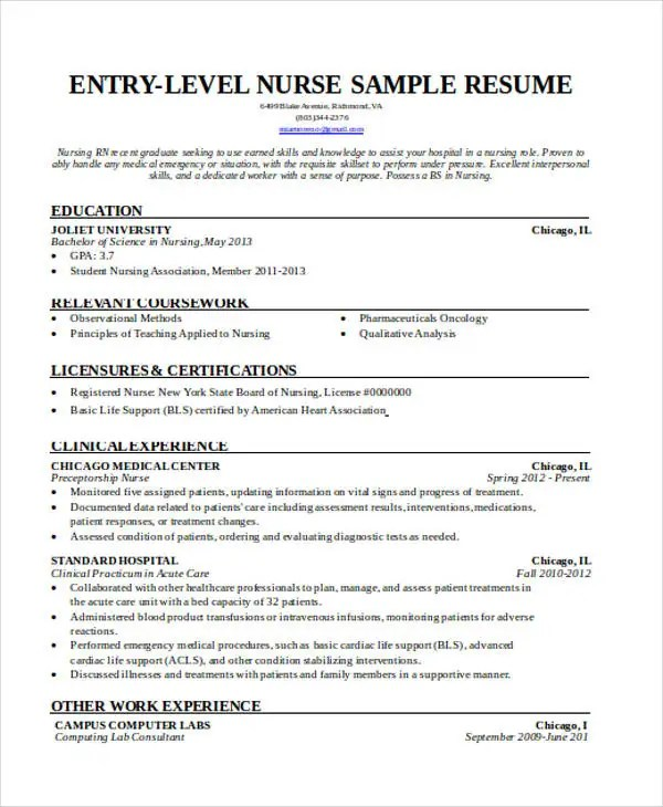 36+ Resume Format - Free Word, PDF Documents Download Free - nursing assessment formart resume