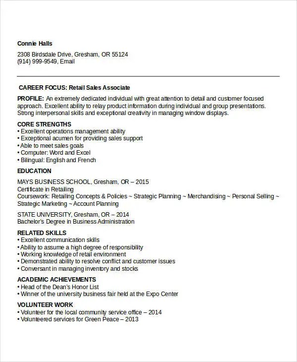 10+ Sample Retail Sales Resume Templates - PDF, DOC Free  Premium - entry level retail resume