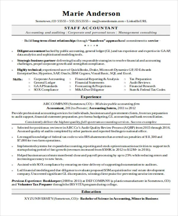 staff accountant resume example - Canasbergdorfbib