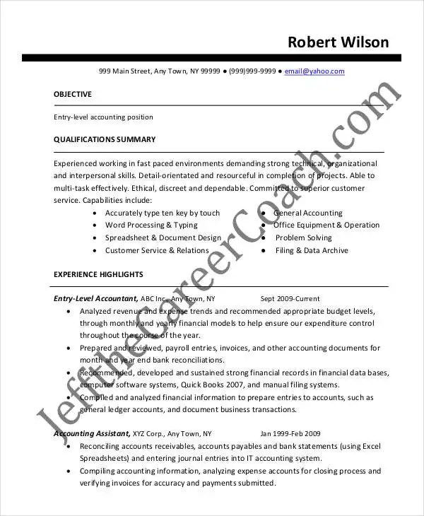 21+ Accountant Resume Templates in PDF Free  Premium Templates