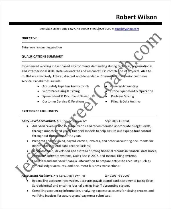 resume example for staff accountant
