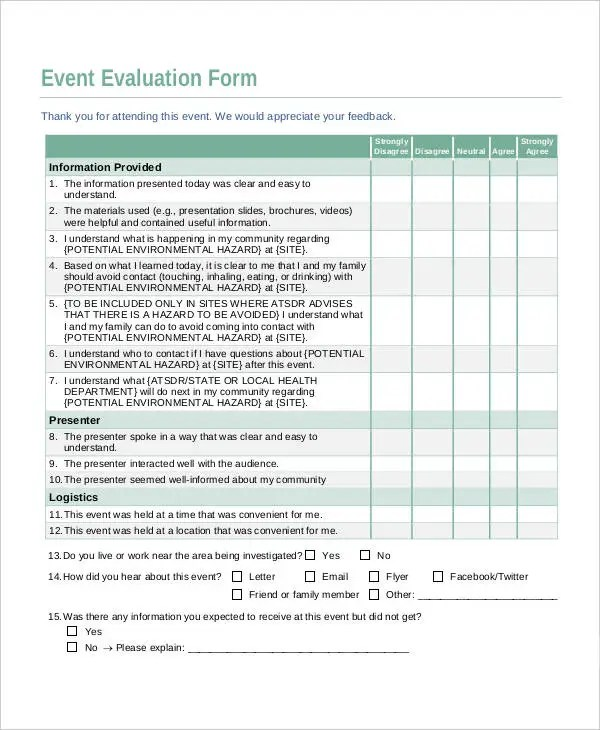 Event Evaluation  ResumeTemplatePaasproviderCom
