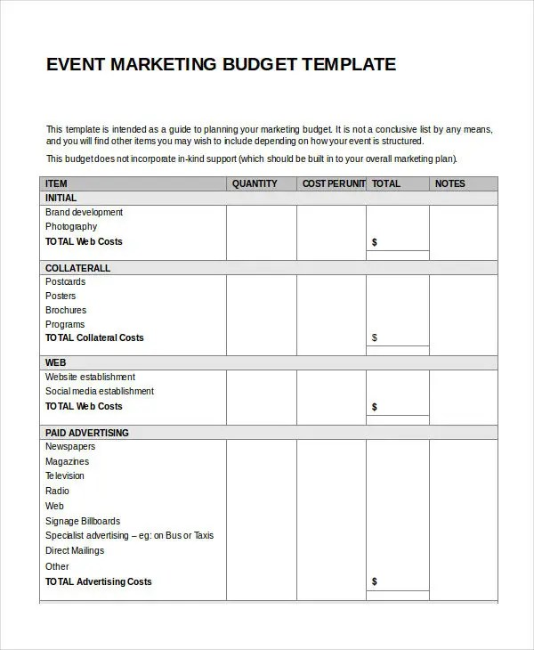 8+ Marketing Budget Templates - Free Sample, Example, Format