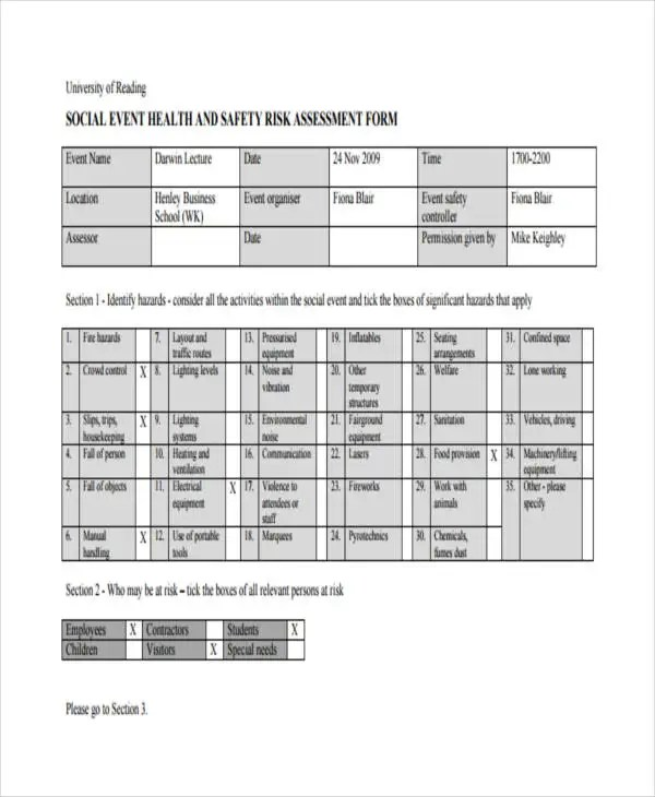 23+ Risk Assessment Form Examples Free  Premium Templates