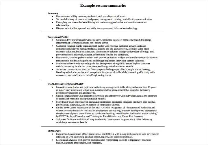 Summary Example For Resume Summary Example For Resume Resume - resume summaries examples