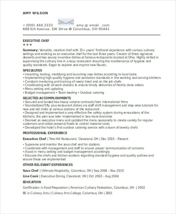 chef resume examples chef resumes samples sample resume chef culinary resume templates