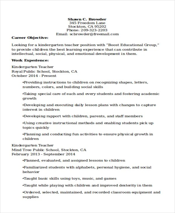 teacher resume 5 sei classroom teacher resume lead kindergarten - Kindergarten Teacher Resume Samples