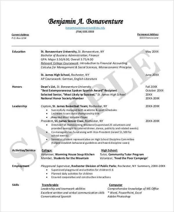 resume first year college student