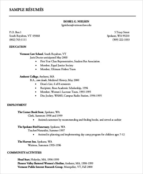 first year college student resumes - Canasbergdorfbib