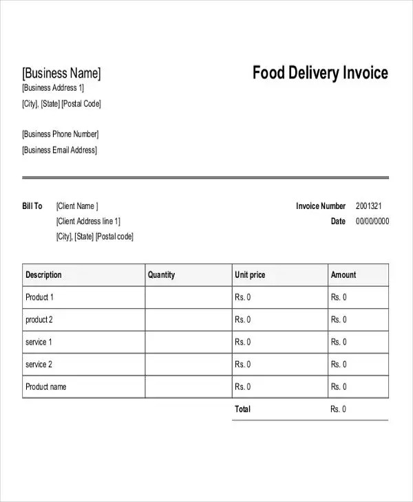 Delivery Invoice Templates - 4+ Free Word, PDF, Format Download - Invoice Templets