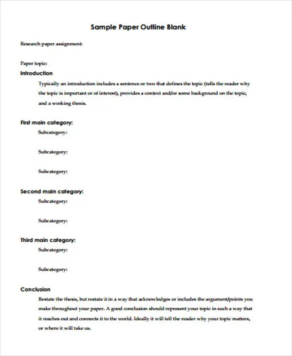 Paper Outline Templates - 6+ Free PDF Format Download Free