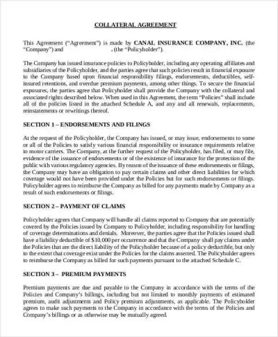 10 Collateral Agreement Templates - Free Sample ,Example Format Download   Free & Premium Templates