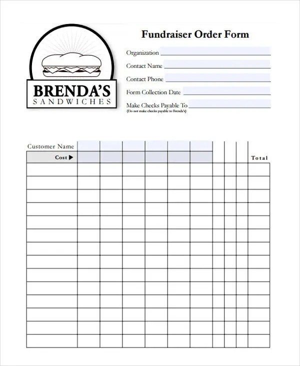 8+ Fundraiser Order Forms - Free Sample, Example Format Download