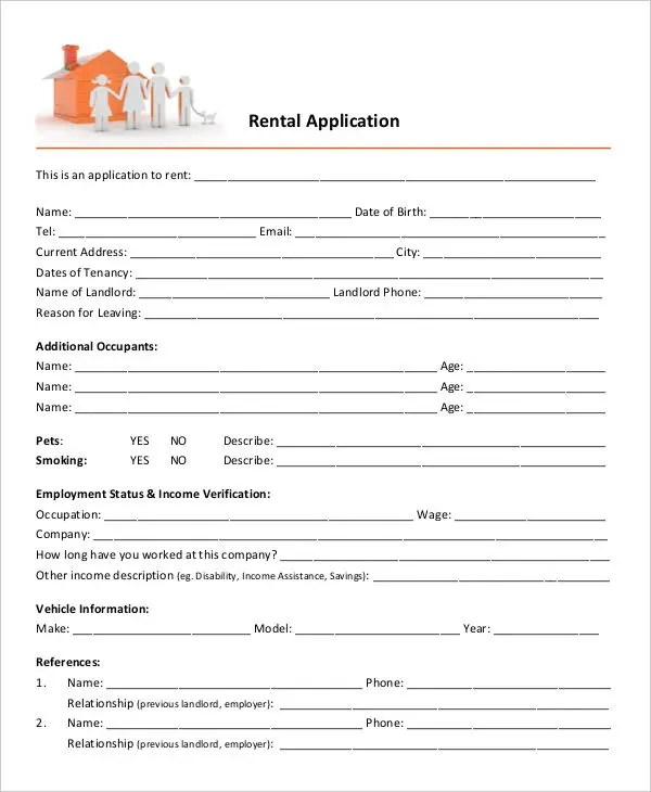17+ Printable Rental Application Templates Free  Premium Templates - rental assistance form