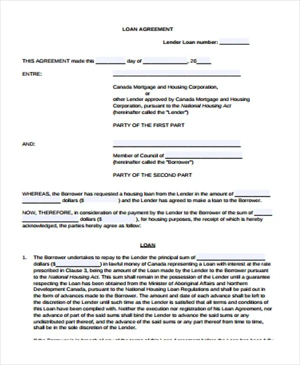 25+ Loan Agreement Forms Free \ Premium Templates - money loan contract template