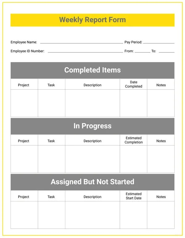free download employee weekly status report templates download