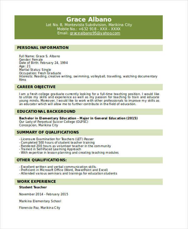 31 resume format free word pdf documents download free fresh graduate resume - Sample College Graduate Resume