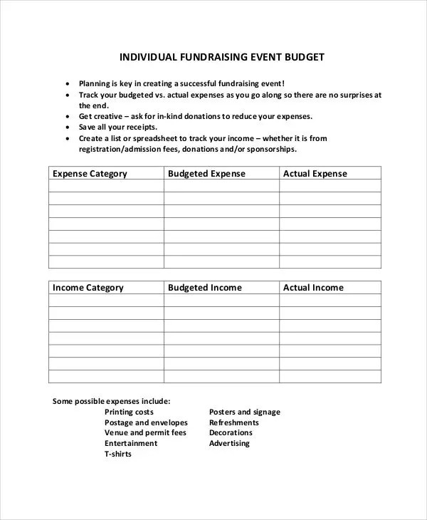 10 Fundraising Budget Templates - Free Sample, Example Format