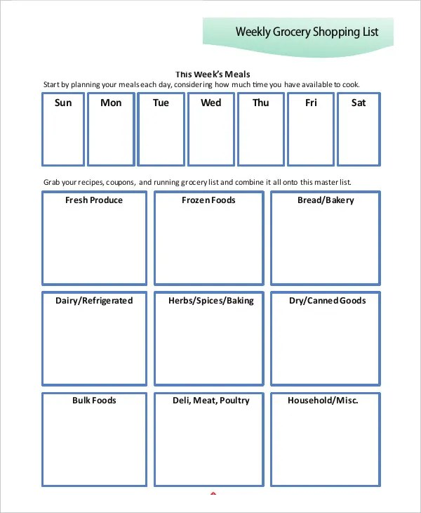 10+ Printable Shopping List Templates - Free Samples, Examples - food list samples